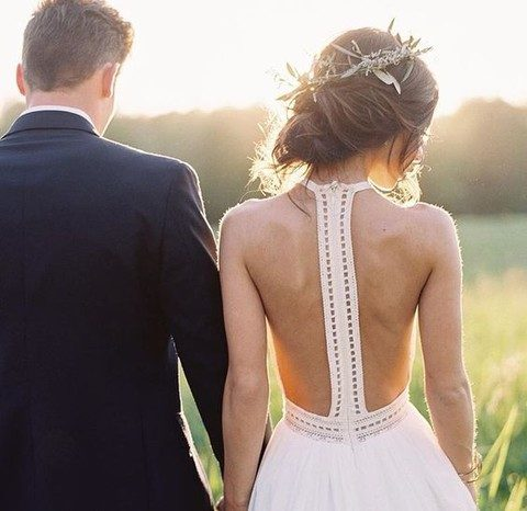 boho chic wedding gown with a modern racerback on a zip