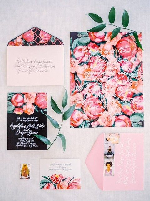 bold blooming wedding stationary