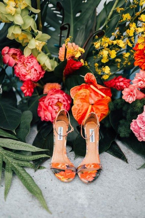 bold floral print ankle strap sandals