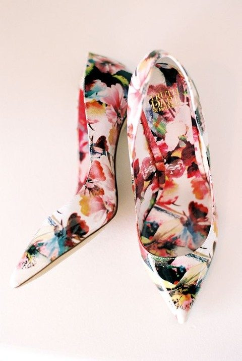 bold floral print shoes for a garden or tropical wedding