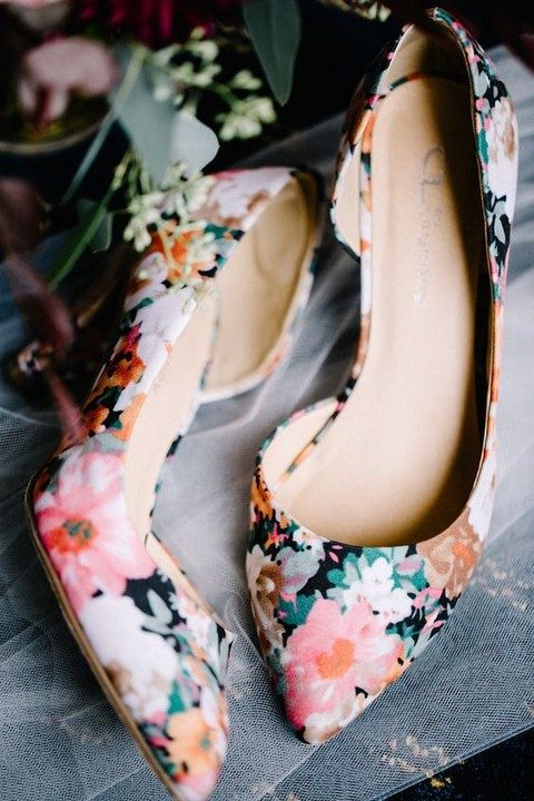 bold floral print wedding shoes