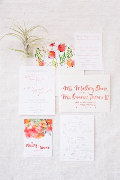 bold floral summer invites and red calligraphy