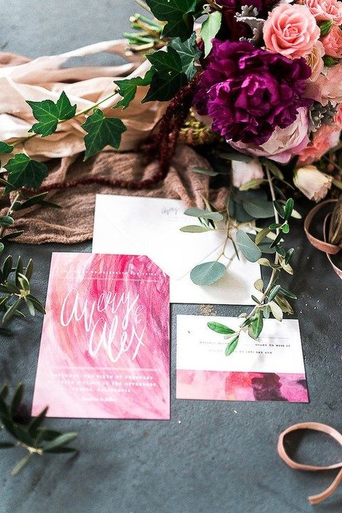 bold pink watercolor wedding stationary