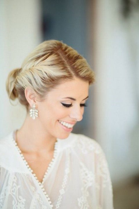 chic bridal makeup with a shiny nude lip