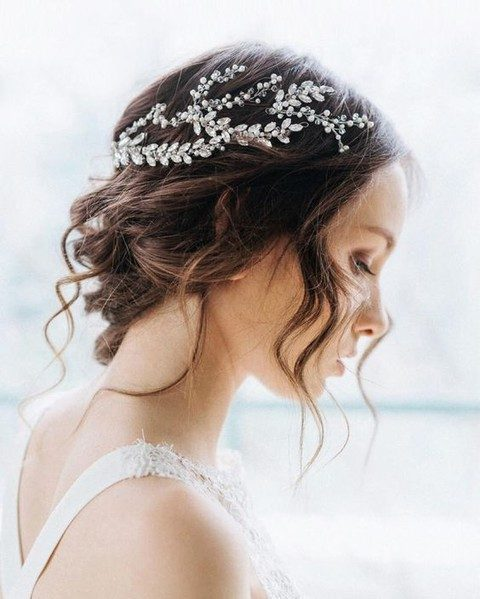 chic crystal and pearl hair vine on an updo