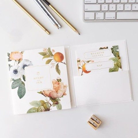 citrus and flower wedding stationary