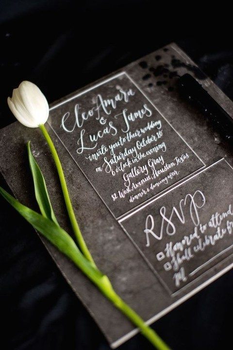 clear acrylic wedding stationary with white calligraphy