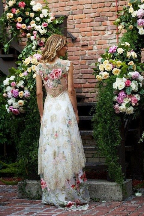 Lace and Flower Wedding Dresses