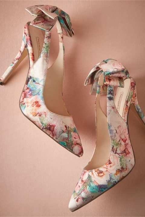 colorful floral wedding shoes with bows on the backs