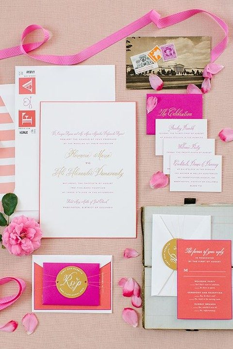 colorful summer wedding stationary suite