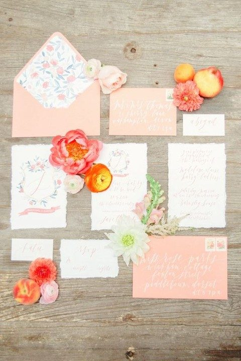 coral and peach wedding invitations