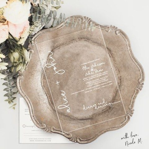 Creative Acrylic Wedding Invitations With White Calligraphy