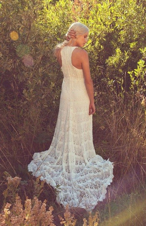 crochet lace racerback wedding gown for a boho bride
