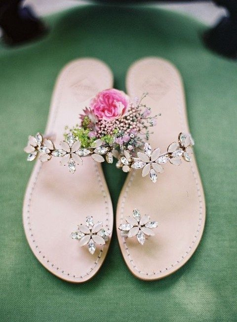 crystal flower sandals look stunning
