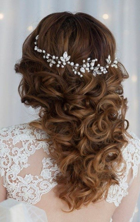 crystals and pearl hair vine in silver