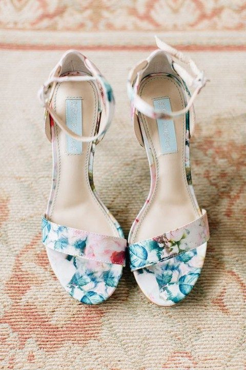cute blue and pink floral heeled sandals by BHLDN