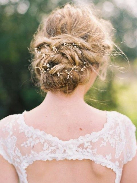 delicate bead hair vine on a twisted updo