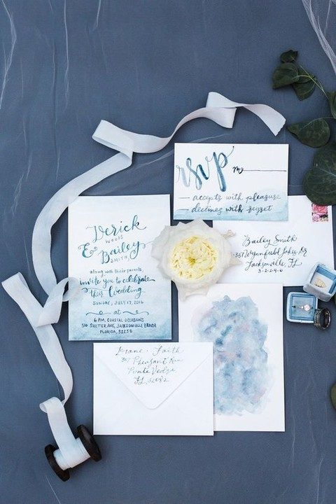 delicate light blue watercolor wedding stationary