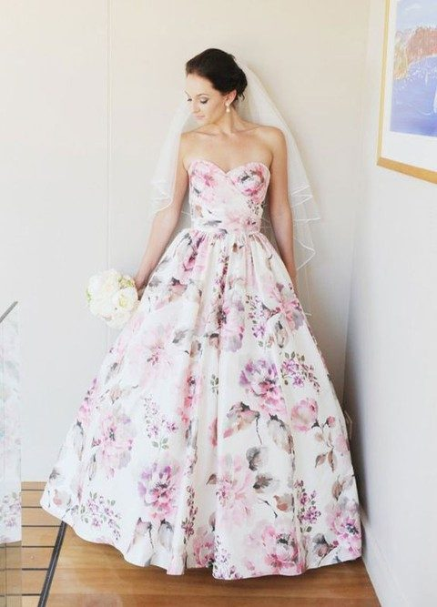 feminine pink and purple floral strapless wedding dress