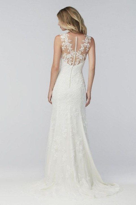 fit and flare wedding dress with a lace illusion back and pearl buttons