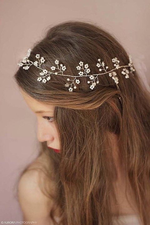 floral and bead hair vine