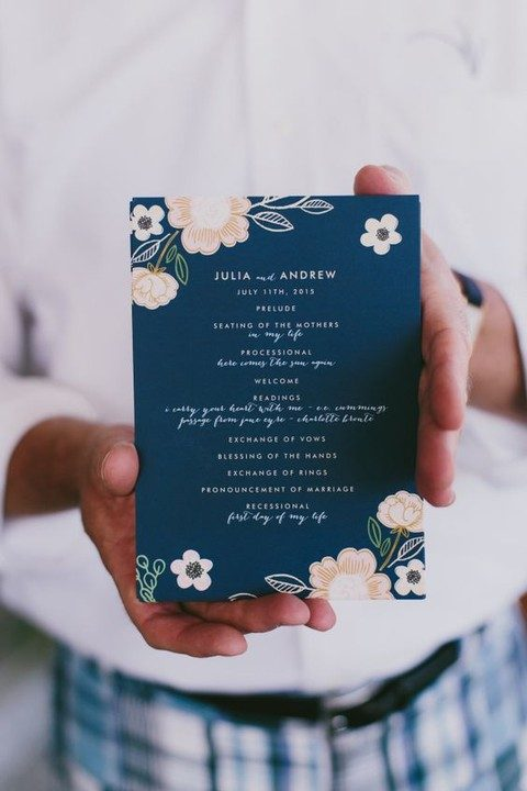 floral navy wedding stationary