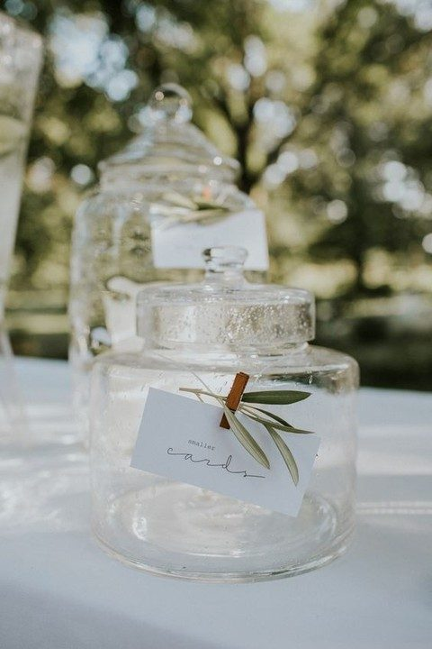glass jars for smaller and bigger cards