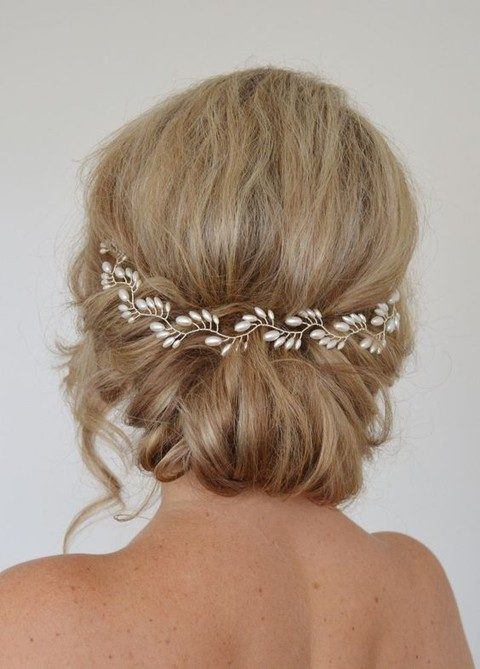 gold and pearl halo hair vine
