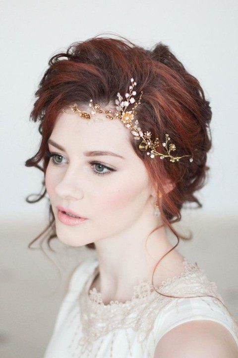 gold, black pearls and rhinestone flowers hair vine