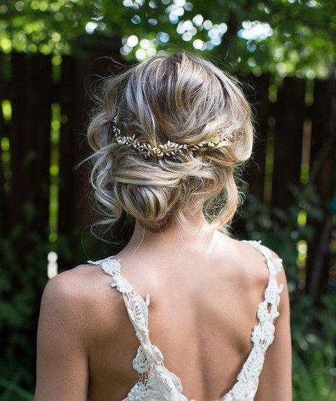 gold leaf halo hair vine for the bride