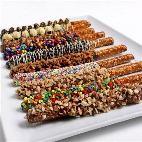 gourmet dipped pretzels on a tray