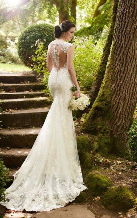illusion lace racerback mermaid wedding dress with pearl buttons