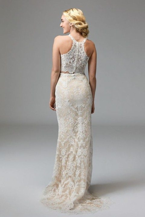 ivory lace bridal separate with a racerback top on buttons