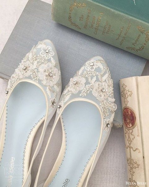 ivory sheer flats with lace floral appliques and rhinestones