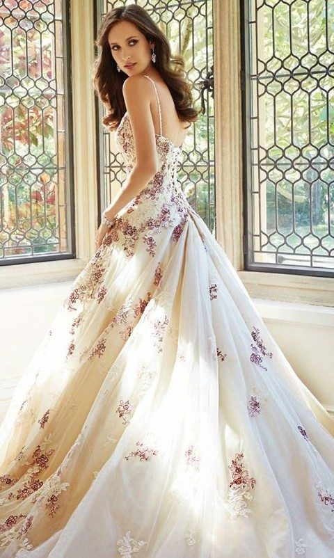 Gorgeous floral wedding dresses that inspire for Purple and ivory wedding dress