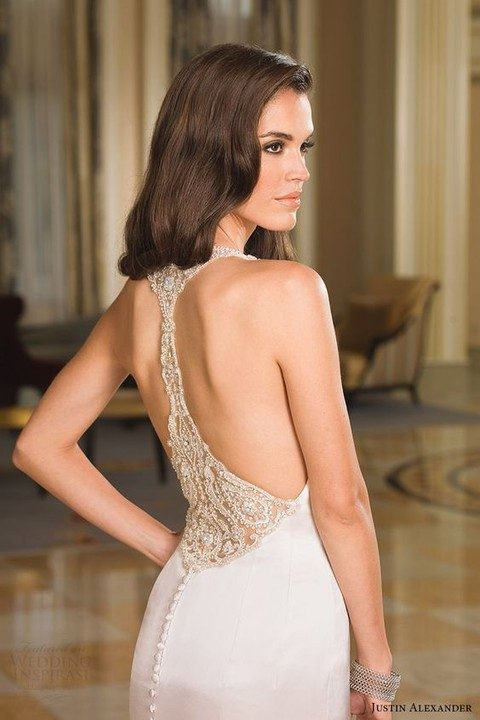 jeweled racerback wedding dress with a row of buttons