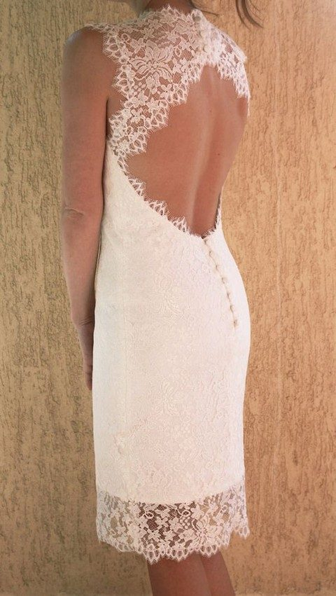 knee-length lace wedding dress with a keyhole back and buttons