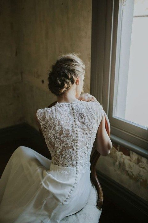 lace back wedding dress with fabric covered buttons