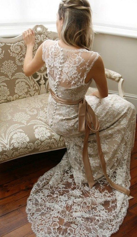 lace sheath wedding dress with an illusion button back