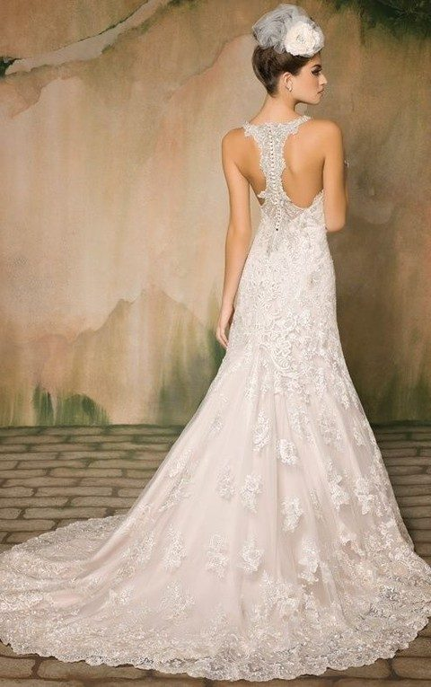 metallic lace mermaid gown with a heavily beaded racerback