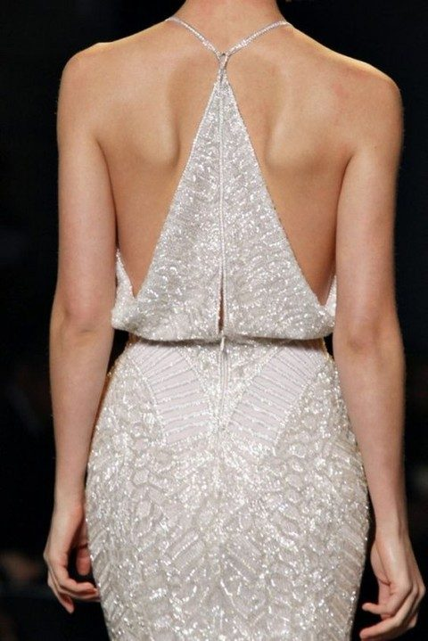 modern sparkling wedding dress with a racerback detail