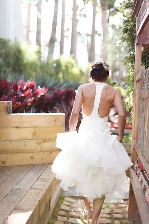 modern wedding dress with a plain fabric racerback