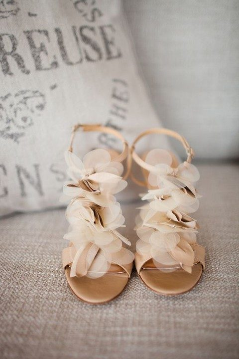 nude fabric flower heeled sandals