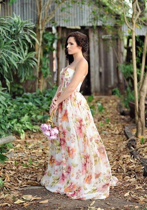 peach and pink colorful floral wedding gown