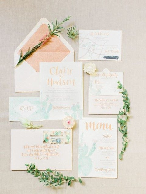peach wedding invitation suit with watercolor cacti