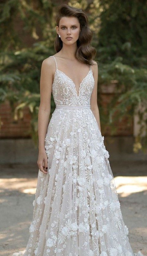 pearl spaghetti strap and plunging neckline wedding dress with floral appliques