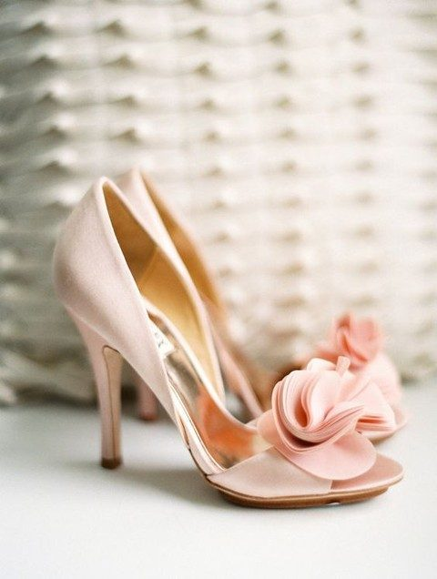 peep toe blush wedding shoes with fabric flowers
