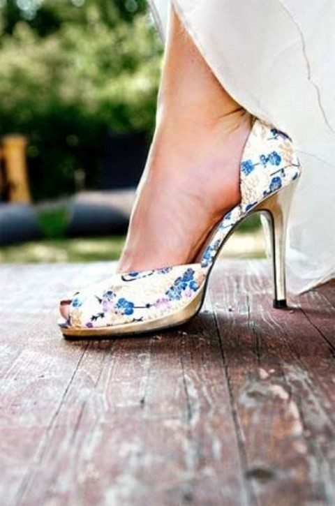 peep toe wedidng shoes with a blue floral print for something blue