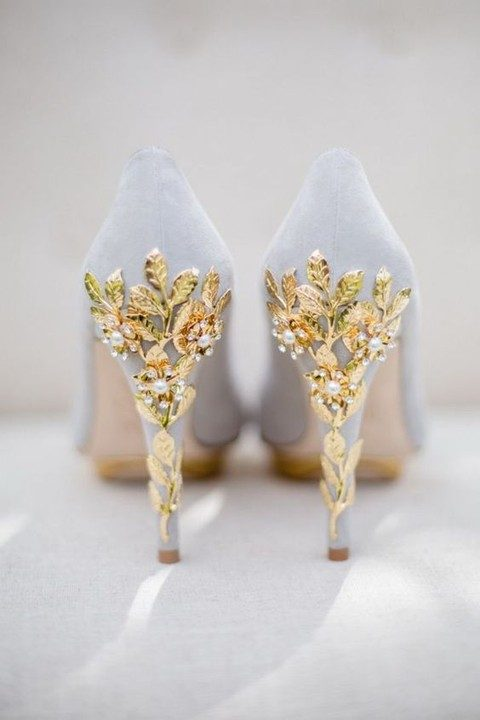 pigeon grey wedding shoes with gold leaves and pearl cherry blossom