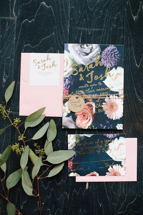 pink and floral wedding stationary